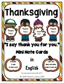 Thanksgiving Mini Note Cards in English: Thank You!