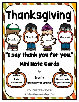 Thanksgiving Mini Note Cards in Spanish: ¡Gracias!