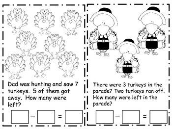 Thanksgiving Mini Subtraction Book