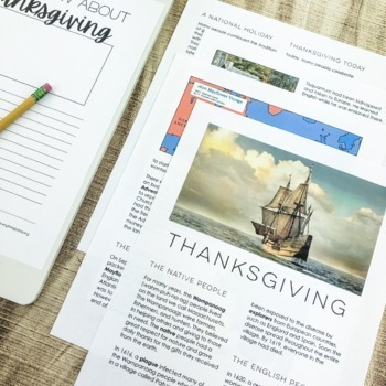 Thanksgiving Activities: Close Reading, Writing Response, Craft and more
