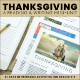 Thanksgiving Activities: Close Reading, Writing Response,