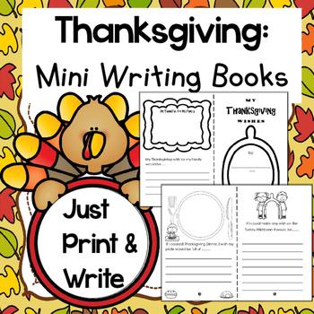 Thanksgiving Writing Mini Books & Survey Graph