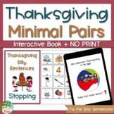 Thanksgiving Stopping Minimal Pairs Interactive Book
