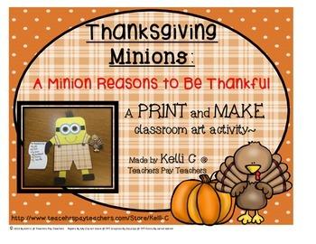 Thanksgiving Minion PRINT and MAKE Art and Writing Activity