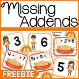 Missing Addends Math Center Freebie