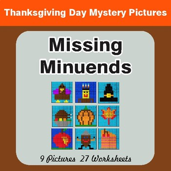 Thanksgiving: Missing Minuends - Color-By-Number Math Mystery Pictures