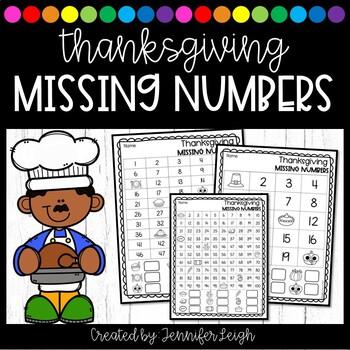 Thanksgiving Missing Number Worksheets
