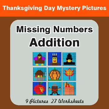 Thanksgiving: Missing Numbers Addition - Color-By-Number Math Mystery Pictures