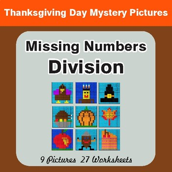Thanksgiving: Missing Numbers Division - Color-By-Number Math Mystery Pictures