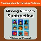Missing Numbers Subtraction - Color-By-Number Thanksgiving Math Mystery Pictures