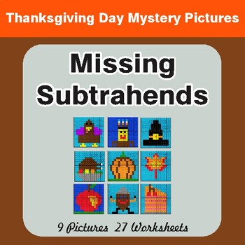 Thanksgiving: Missing Subtrahends - Color-By-Number Math Mystery Pictures