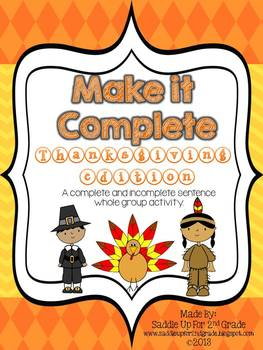 Thanksgiving Mix It Up: A Complete and Incomplete Sentence Game