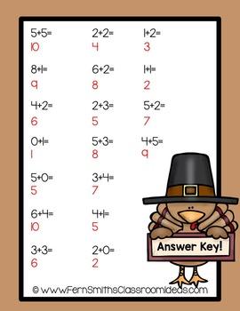 Thanksgiving Math Center Mixed Addition