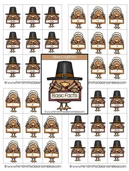 Thanksgiving Math Quick and Easy to Prep Mixed Addition and Subtraction Center
