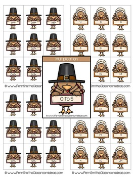 Thanksgiving Math Quick and Easy to Prep Mixed Multiplication - 0 to 10 - Center