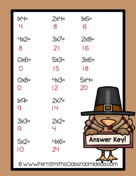 Thanksgiving Math Quick and Easy to Prep Mixed Multiplication of 0 to 5 Center