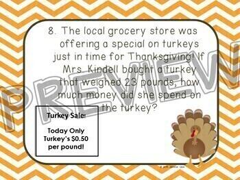 Thanksgiving Task Cards: Decimal Word Problems