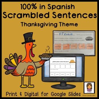 Spanish Thanksgiving Mixed up Sentences