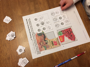 Thanksgiving Money Math Activity: Buying Thanksgiving Dinner with Coins
