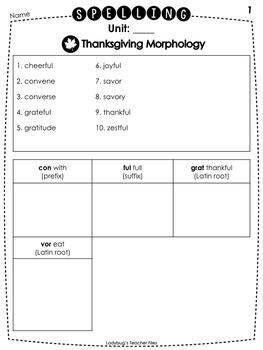 Thanksgiving Morphology