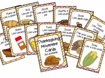 Thanksgiving Movement Cards for Preschool and Brain Break