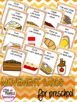 Thanksgiving Movement Cards for Preschool