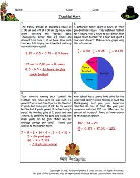 Thanksgiving - Problem Solving / Word Problems