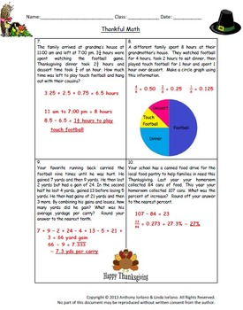 Thanksgiving - Problem Solving / Word Problems