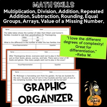 Fall: Thanksgiving Word Problems for Third Grade - Differentiated