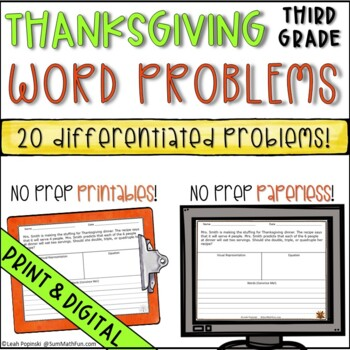 Thanksgiving Word Problems for Third Grade Differentiated