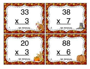 Thanksgiving Multiplication (2 Digit x 1 Digit) Task Cards