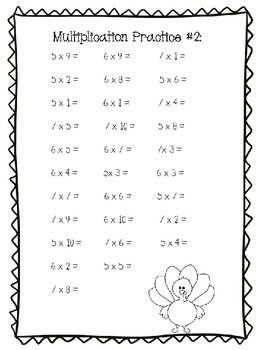 Thanksgiving Multiplication 3 practice pages