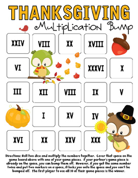 Thanksgiving Multiplication Bump Games