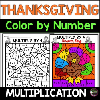 Thanksgiving Multiplication Color by Number- 2's to 12's