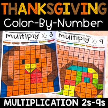 Thanksgiving Multiplication Color by Number November Facts 2s-9s