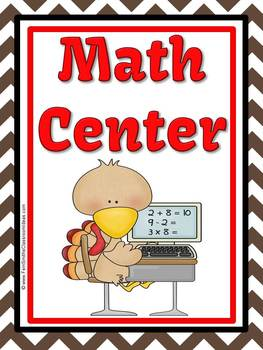 Thanksgiving Math Center Multiplication and Division Fact Families