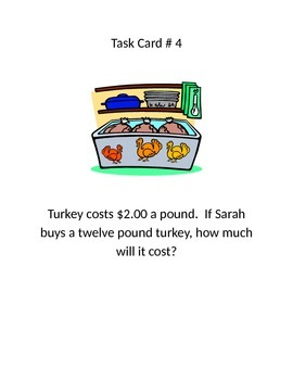 Thanksgiving Multiplication/ Division Word Problem Task Cards