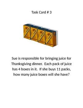 Thanksgiving Multiplication/ Division Word Problem Task Cards