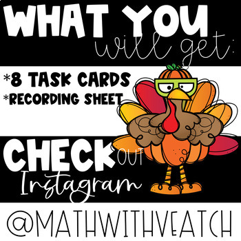 Thanksgiving Multiplication & Division Word Problems Task Cards