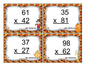 Fall Multiplication (Double Digit) Task Cards