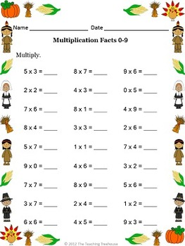 thanksgiving multiplication by the teaching treehouse tpt. Black Bedroom Furniture Sets. Home Design Ideas