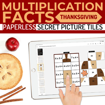 Thanksgiving Multiplication Facts Paperless Google Slides PPT Secret Pictures
