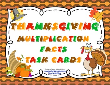 Thanksgiving Multiplication Facts Task Cards