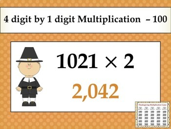 Thanksgiving Multiplication Game - similar to Jeopardy