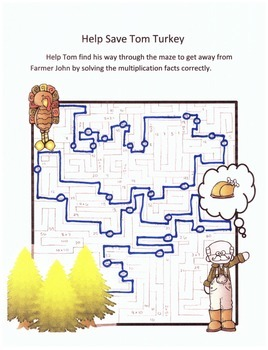 Thanksgiving Math Multiplication Maze Activity
