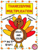 4th Grade Thanksgiving Multiplication - Partial Product and Standard Algorithm