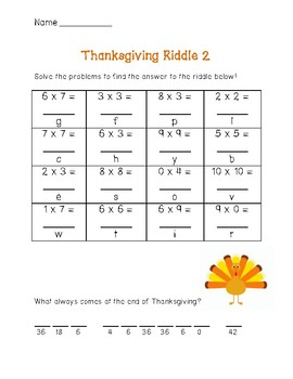 Thanksgiving Multiplication Riddles