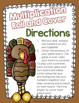 Thanksgiving Multiplication Roll and Cover {Factors 1-12}