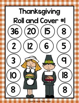 Thanksgiving Multiplication Roll and Cover Game {Freebie}