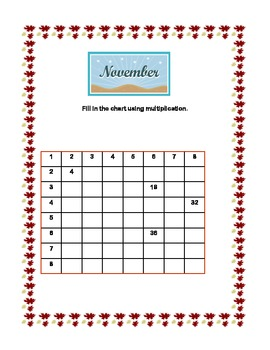 Thanksgiving Multiplication Tables 5-8